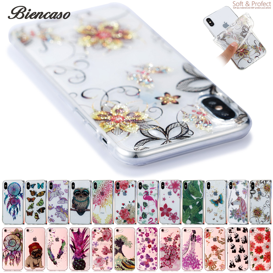 Sequins Phone Case For iPhone 6S 7 8 Plus 5S SE Touch 5 6 Bling Flash Powder Soft TPU Cases Back Cover Coque For iPhone X B34