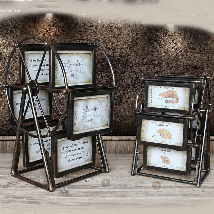2016 new ferris wheel shape photo frame vintage style picture frame with 6 frames windmill shape. Black Bedroom Furniture Sets. Home Design Ideas