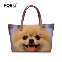 FORUDESIGNS Cute Pomeranian Handbag Women Bags Pet Dog Lady Handbags Tote Bags Travel Cross-body Bag For Woman Bolsas Feminina