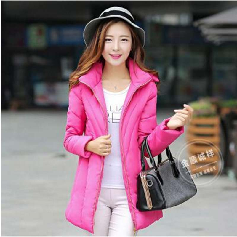 6 colors new 2016 autumn and winter Korean thick Wadded Jackets women fashion slim hooded long