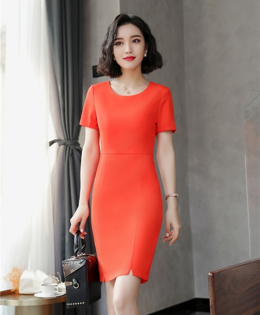 e037cfc9203 Fashion Women Party Dresses Orange red Ladies Summer Work Dress Short Sleeve  Mini Slim Office Uniform Styles