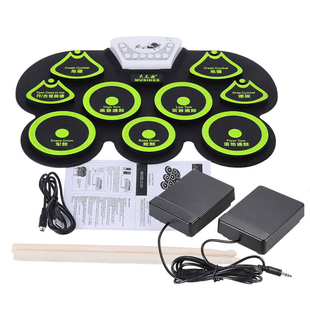 Portable Foldable Silicone Digital USB Roll up Electronic Drum Pad Kit with Stick and Foot Pedal