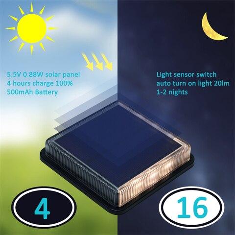 8 pces led solar lampada ao ar