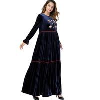 Velvet Dress Women Floral Embroidery Patchwork Spring Winter Pleated Christmas Dress Vintage Long Plus Size Mom Dresses TA7387