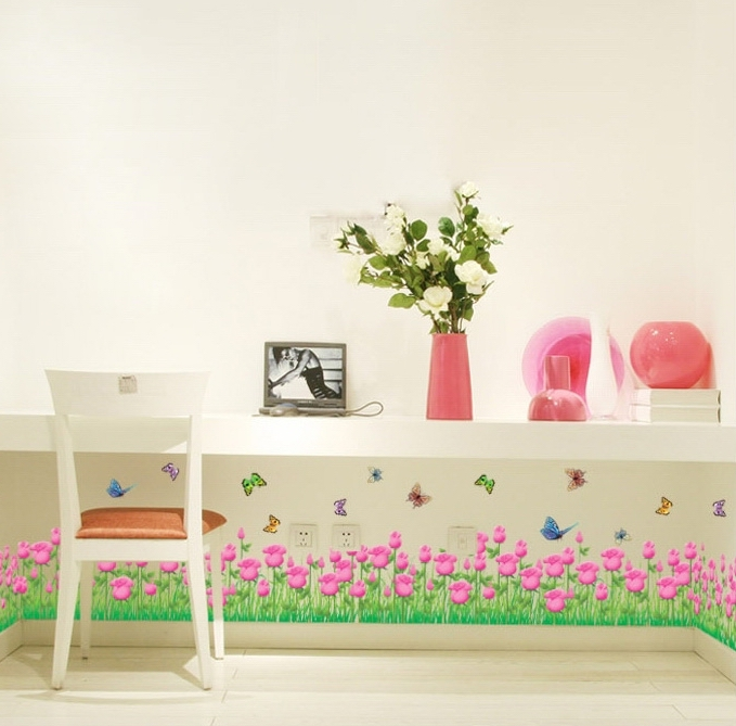 Girls Pink Tulip Border Wall Stickers Mural Red Flower Removable Pvc  Wallpaper Decals Women Kids Home Bedroom Nursery Decoration In Wall  Stickers From Home ...