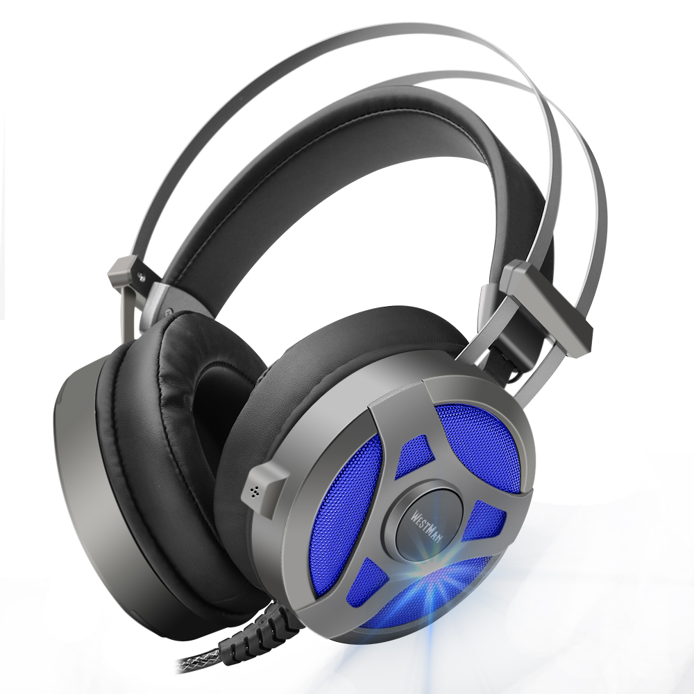 Computer Gaming Headset Game headphone Headband Over-ear Stereo Heavy Bass  LED Light with Mic for PC Gamer led bass hd gaming headset mic stereo computer gamer over ear headband headphone noise cancelling with microphone for pc game