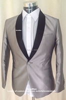 Custom Made To Measure Shawl Collared Men S Suits Silver Grey Tuxedo Black Shawl Lapel BESPOKE