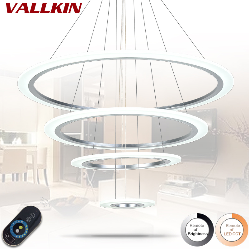 Dimmable Modern Chandelier Lamp Luxury Ring Living Room LED Lamp Iron Hanging Light Fixtures Adjustable Chandeliers