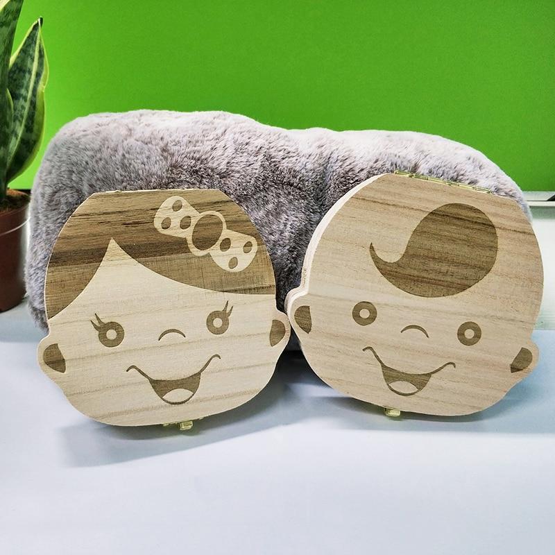 Деревянный ящик для хранения зубов для маленьких детей английский/испанский/французский/русский/Итальянский зубчатый пупочный Lanugo Органа...