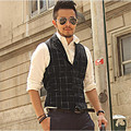 Tops For Mens Casual Vest European Brands Striped Black Sleeveless Males Plaid Buttons Pockets Blouse Vest Hot Vest  A2809