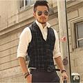 Tops Para Hombre de Marcas de Rayas Negro Sin Mangas de Los Hombres Chaleco Ocasional Europea Plaid Botones Bolsillos Blusa Chaleco Caliente Chaleco A2809
