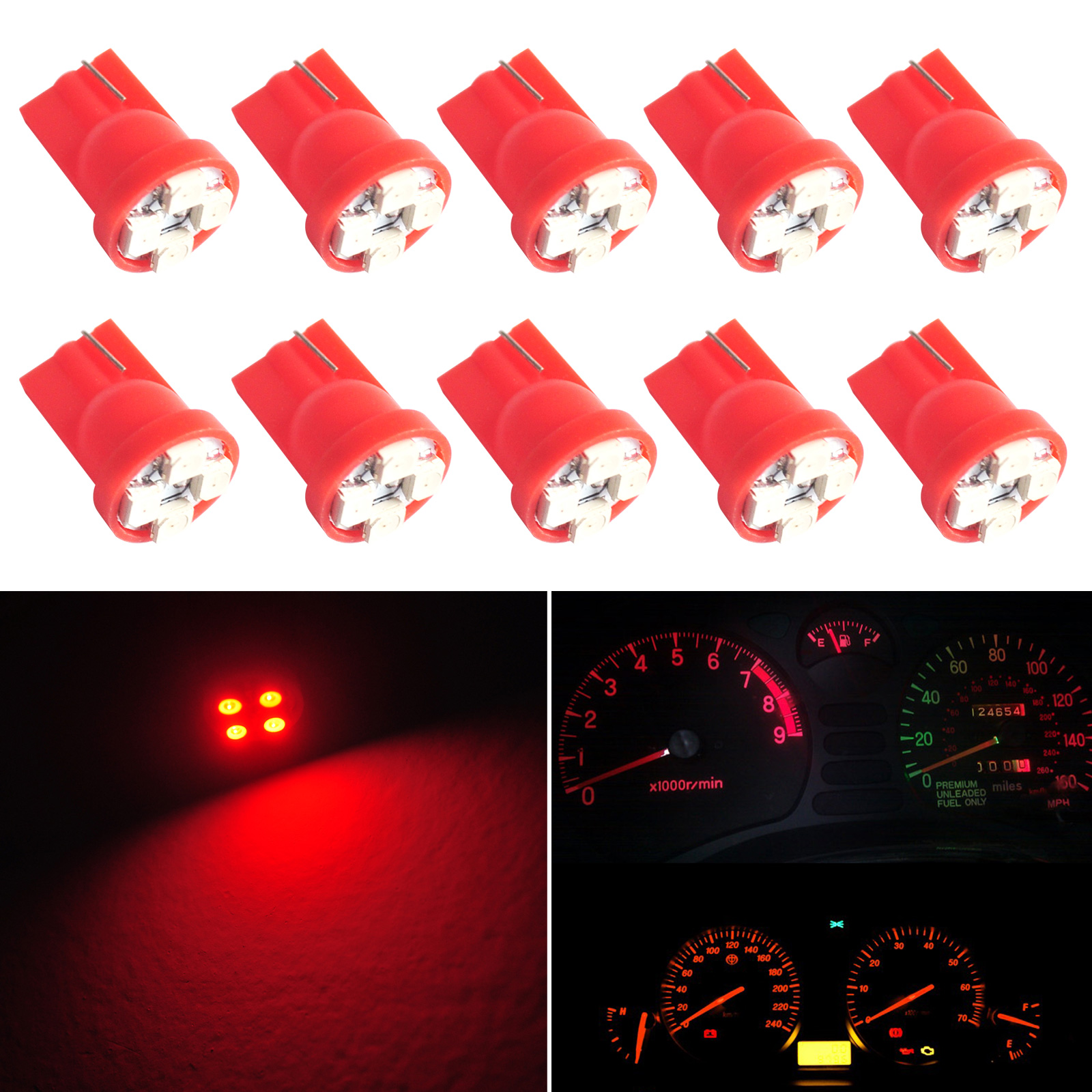 10pcs Car T10 194 Red Gauge Instrument Cluster Speedometer Dash 4-SMD Car LED Light Bulbs