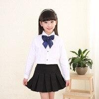 Nuove Uniformi Scolastiche Studente Uniforme Formale Delle Ragazze Del Cotone Set Camicia Bianca con Black Gonne A Pieghe Uniforme Escolar Costume W9