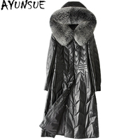 AYUNSUE Genuine Leather Down Jacket Women 2018 Winter Long Sheepskin Coat Female Natural Fox Fur Hooded Plus Size 28213 WYQ2059