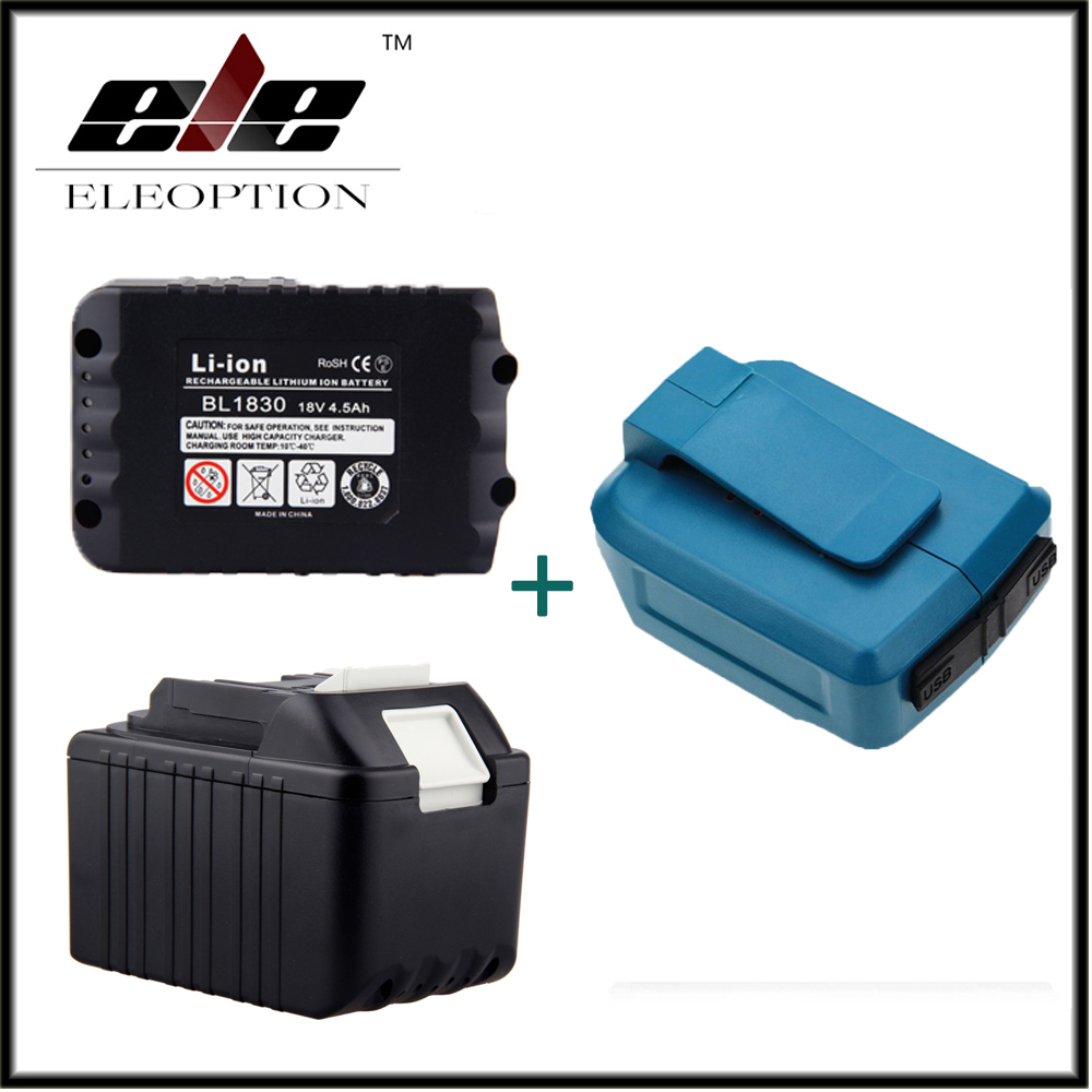 Eleoption 2x 18V 4500mAh Li-Ion Rechargeable Power Tools Battery For Makita BL1830 BL1815 194204 5 + Dual USB Charger Adapter eleoption 2pcs 18v 3000mah li ion power tools battery for hitachi drill bcl1815 bcl1830 ebm1830 327730