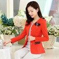 2016 do sexo feminino verão blazer feminino mulheres casual estilo Regular design único outerwear terno das mulheres jaqueta de algodão sólida