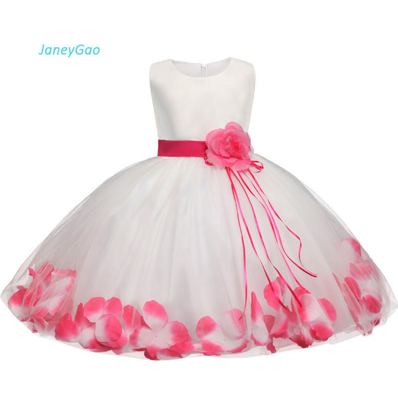 JaneyGao   Flower     Girl     Dresses   2019 New Fashion Summer Sleeveless   Girls   Communion   Dress   With Appliques White and Pink For Wedding