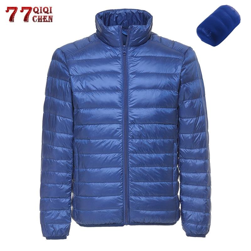 2019 Winter Casual Ultralight White Duck Down Jacket Men Portable Autumn Waterproof Lightweight Jackets Outwear Down Coats 6XL
