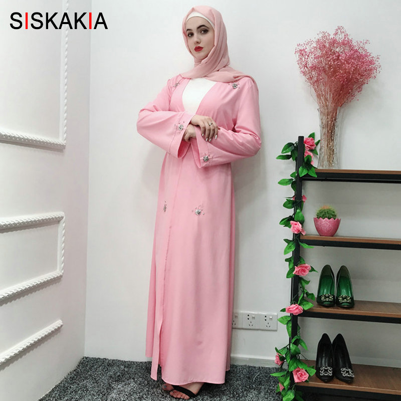 Siskakia Handmade Beaded Cardigan Abaya Islam Dubai Oman Ramadan Robe Rhinestone Manual Sewing Solid Muslim Clothing Summer 2019
