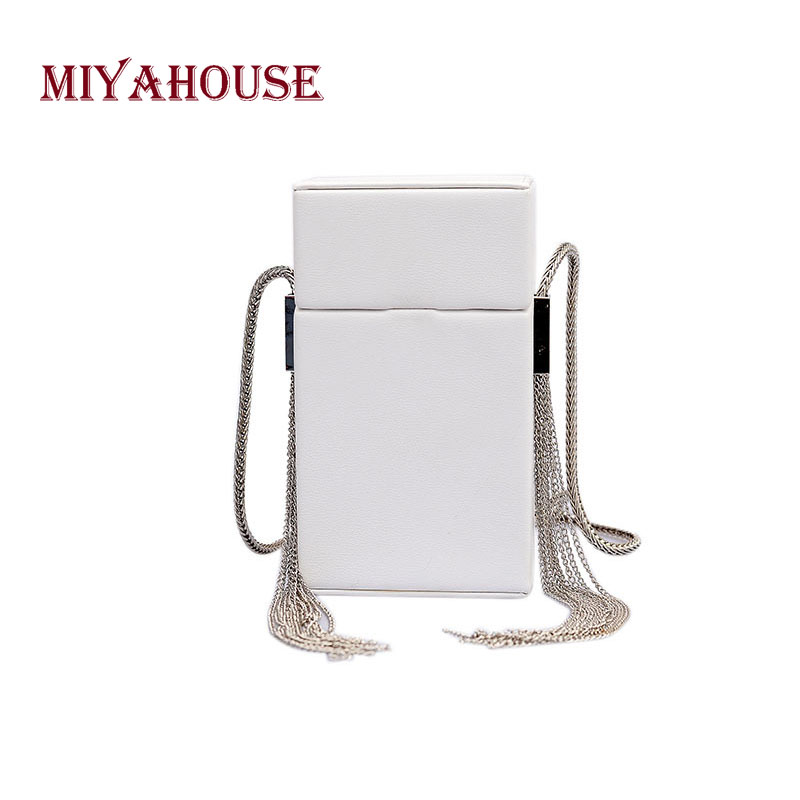 Miyahouse Solid Color Shoulder Bag With Chain Tassel Design Messenger Bag For Female PU Leather Crossbody Bag For Women concise nylon and solid color design crossbody bag for women
