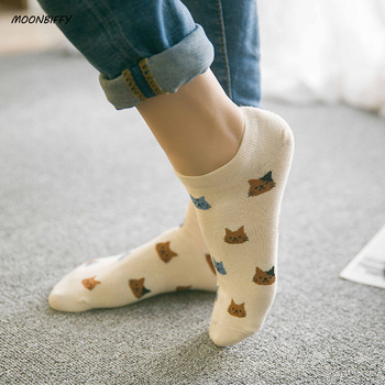 MOONBIFFY New cartoon cute cat face thin section invisible shallow mouth women's cotton socks short tube socks spring and summer