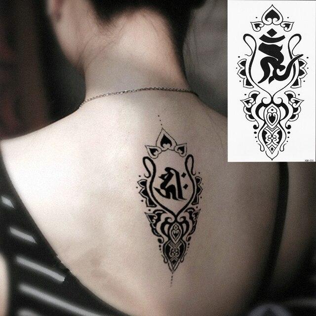 1 Unidades Falso Negro Antiguo Tótem Tatuaje Temporal Brazo Pierna