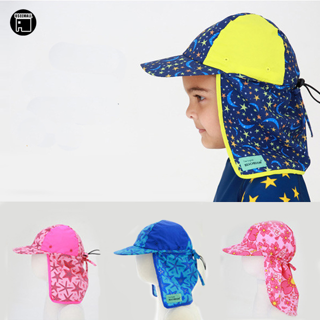 ce36d8435ee USEEMALL Kids Children Outdoor Beach Sun Hat Neck Ear Cover UPF 50+ UV  Protection Ear Protection Swimming Cap 1-8Y High Quality