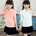 2016 Girls Blouses Spring Autumn Children Clothing Turn-Down Collar Girl Princess Shirts Pearl Child Lace Bottoming Shirt 3-12Y