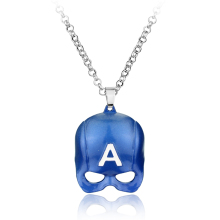Movie Jewelry Blue Captain America Pendant Necklace Marvel Comics The Avengers Series Mask Pendant High Quality Necklace