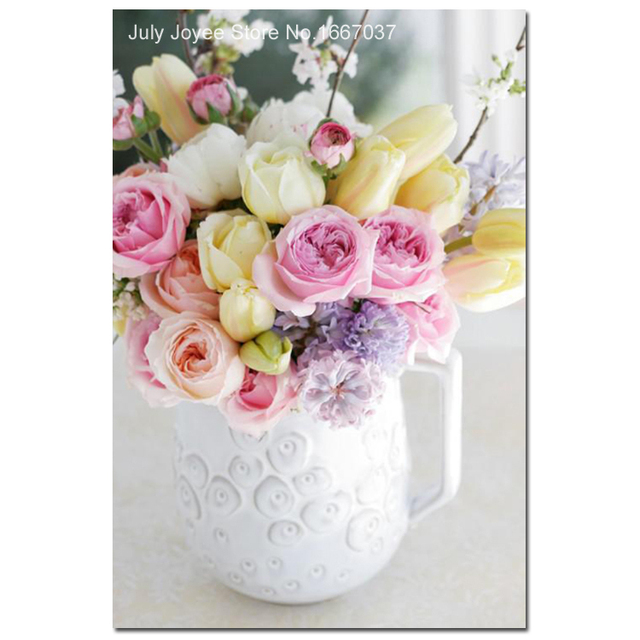 A bouquet of roses and a white flower vase diamond picture of a bouquet of roses and a white flower vase diamond picture of flowers 3d painting rhinestones mightylinksfo