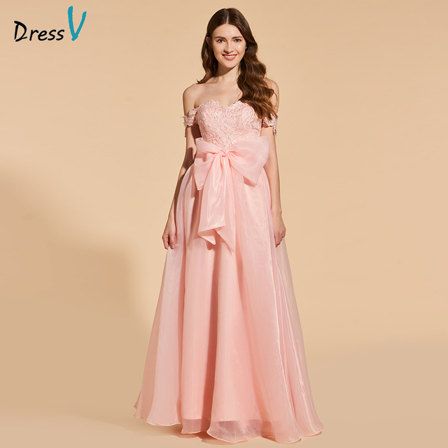 Dressv elegant long prom dress off the shoulder empire waist simple ...