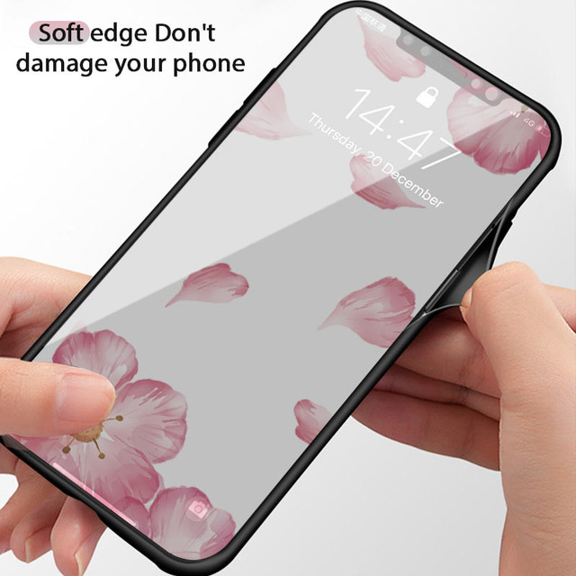 Luxury Tempered Glass Case For iPhone Rose Cherry Flower Protective Back Cover 4
