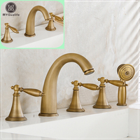 Luxury Retro Brass Bathtub Faucet Deck Mount Widespread Bathroom Bath Tub Mixer Tap Dual Handle Washbasin