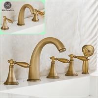 Luxury Retro Brass Bathtub Faucet Deck Mount Widespread Bathroom Bath Tub Mixer Tap Dual Handle Washbasin