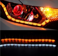 2pcs DRL Led Day Running Car LED Headlight Flexible Strip Angel Tear Eye Turn Signal Switchback