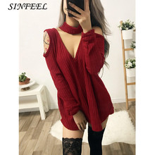 Knitted Winter Dresses Women Sexy Black Red V-neck Off Shoulder Elegant Party Casual Bodycon Mini Sweater Dress Robe Femme