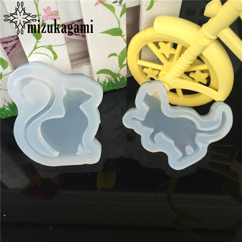 1pcs UV Resin Jewelry Liquid Silicone Mold Cute Animal Cat Resin Charms Molds For DIY Intersperse Decorate Making Molds