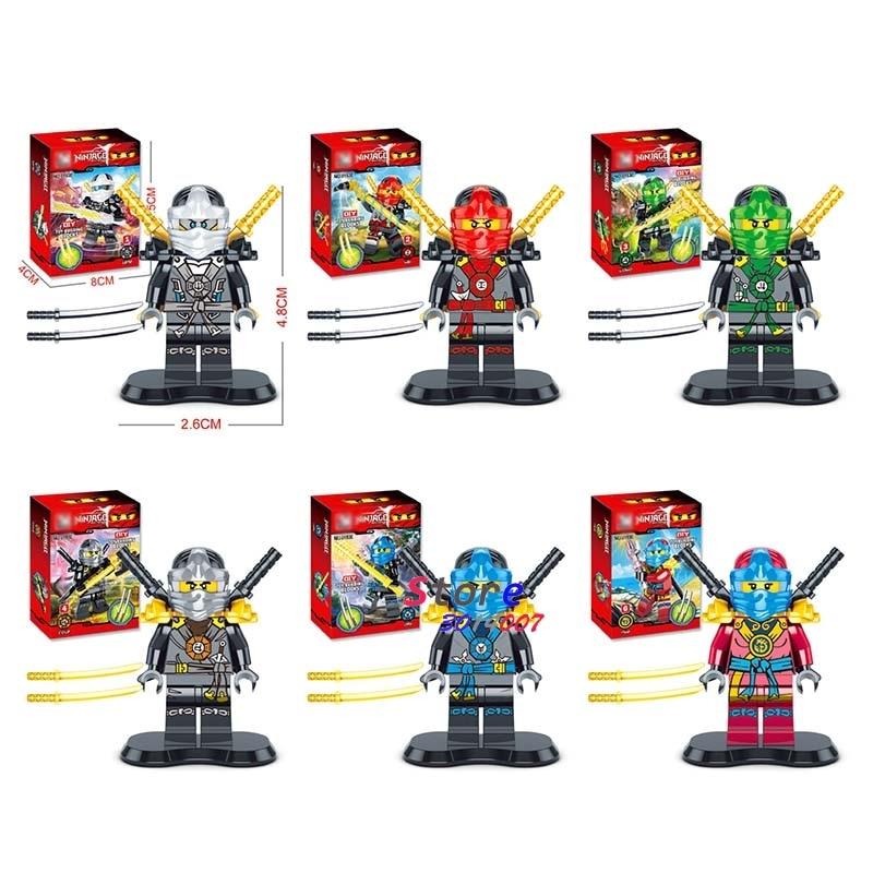 6pcs star wars superhero Ninja Training Suit Kai Cole Jay Lloyd Nya Zane building blocks model Collection sets toys for children