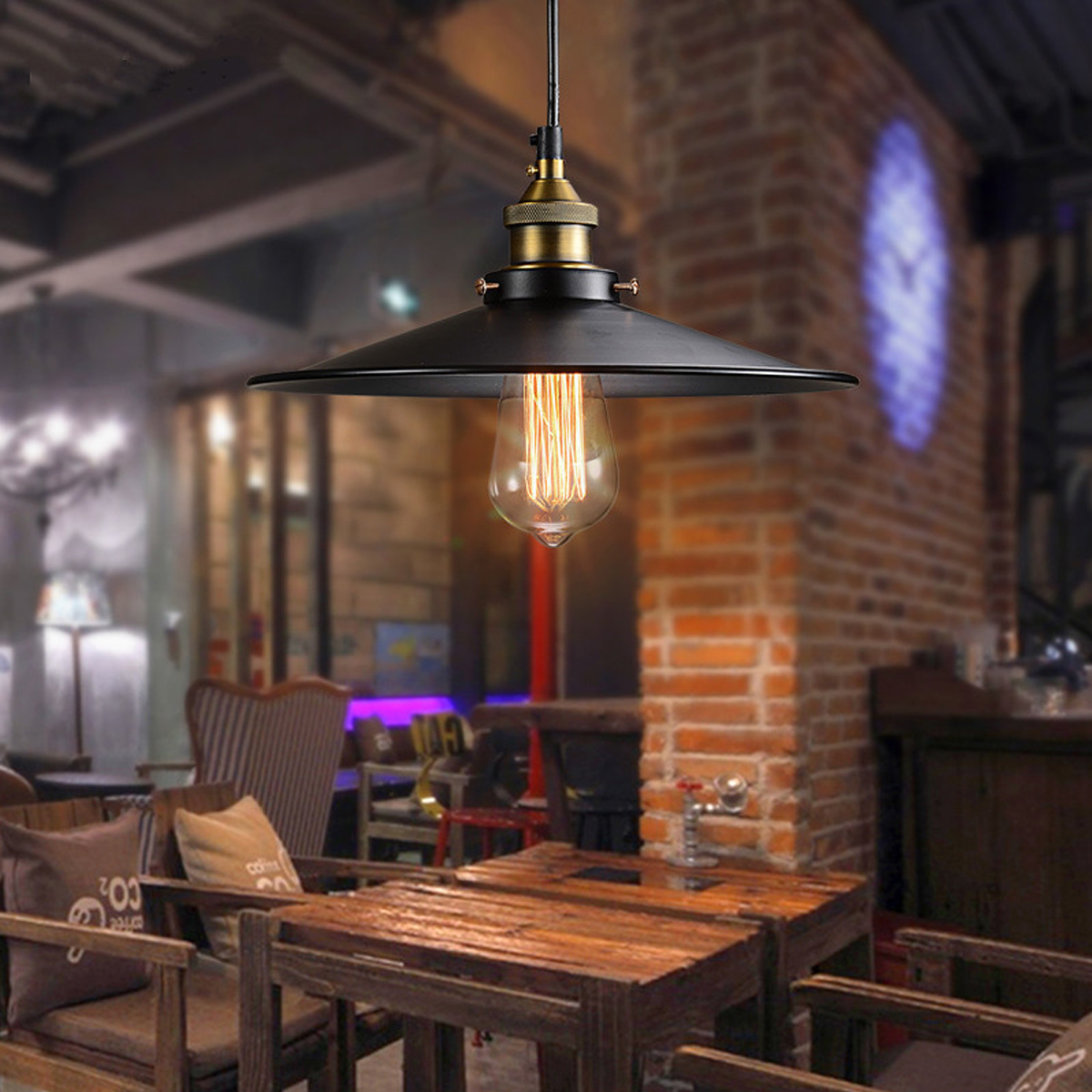 26cm Loft Vintage Ceiling Lamp Retro Industrial Chandelier Fixture For Cafe Restaurant Bar American Style Metal Light