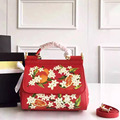 Embroidery Sicily palm print printing Leather Handbag Shoulder Bag Orange