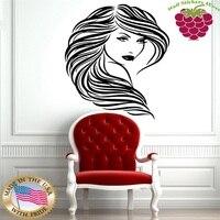 Sexy Beautiful Hot Girl Long Wavy Hair Style Wall Art Decor Vinyl Sticker