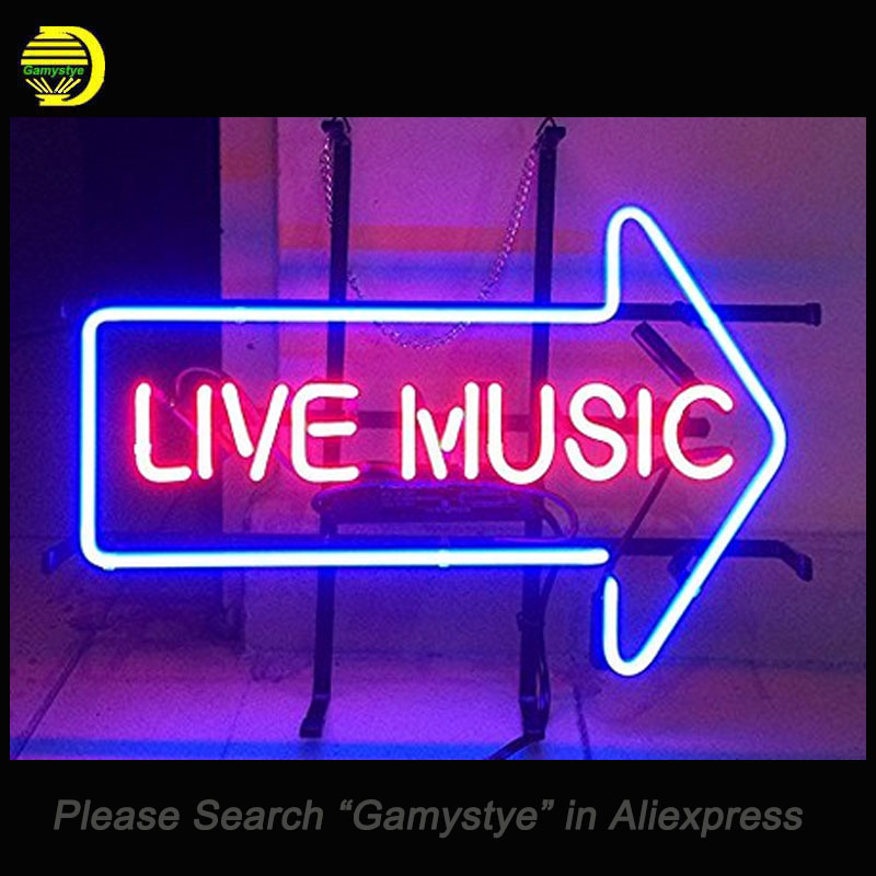 NEON SIGN For Live Music Custom Arrow Neon Bulbs Sign retail signage HANDmade LOGO hanging neon signs vintage personalised light