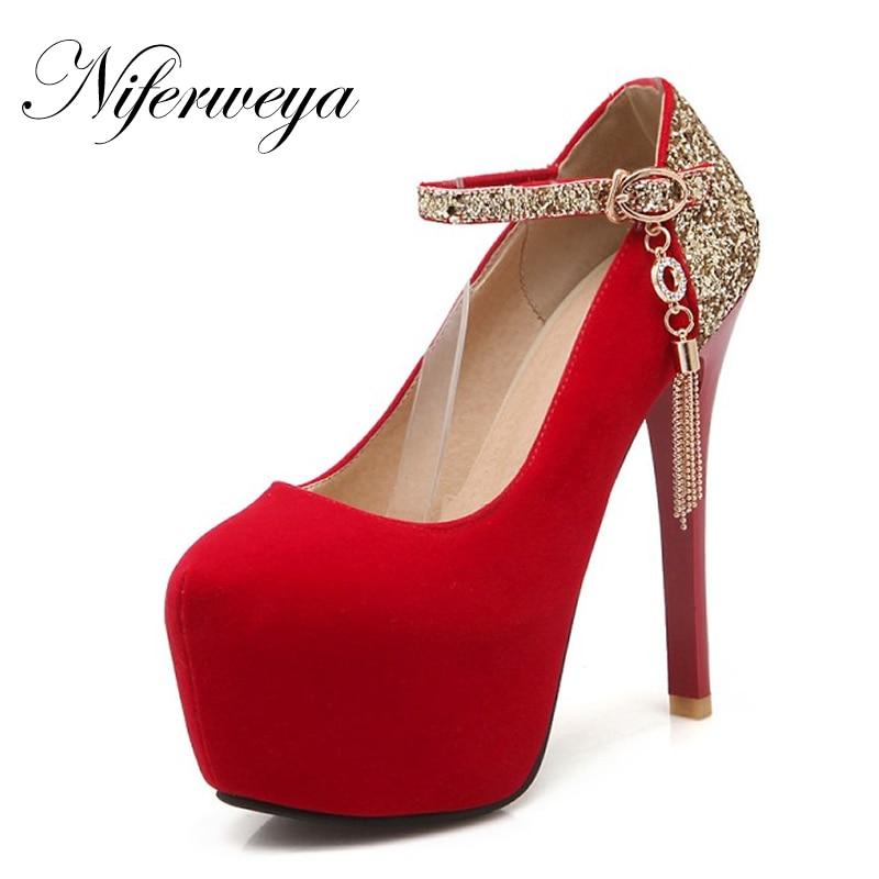 Tamaño 32-42 Moda Primavera / Otoño flock mujeres zapatos rojos de la boda sexy Punta Redonda Mary Janes plataforma tacones altos HDH-B-12