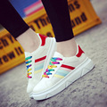 The new Four Seasons PU vamp women flat casual fashion shoes fashion students breathable women shoes rainbow