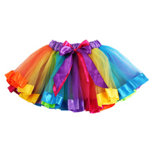 Summer 0-8Y Girls Kids Baby Toddler Rainbow Tutu Dance Skirt Party Costume Fancy Patchwork