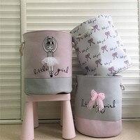 35*40 cm Roze Wasmand Organizer voor Vuile Kleren Katoen Ballet Meisje Boog Print Speelgoed Organizer Home Storage & organisatie