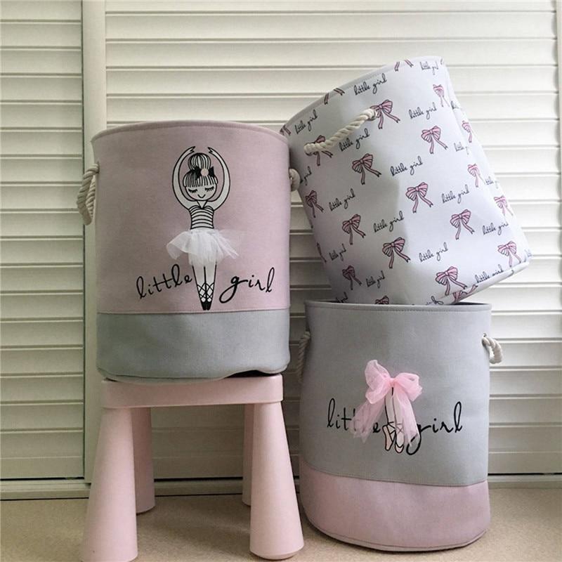 35*40cm Pink Laundry Basket Organizer for Dirty Clothes Cotton Ballet Girl Bow Print Toys Organizer Home Storage&Organization