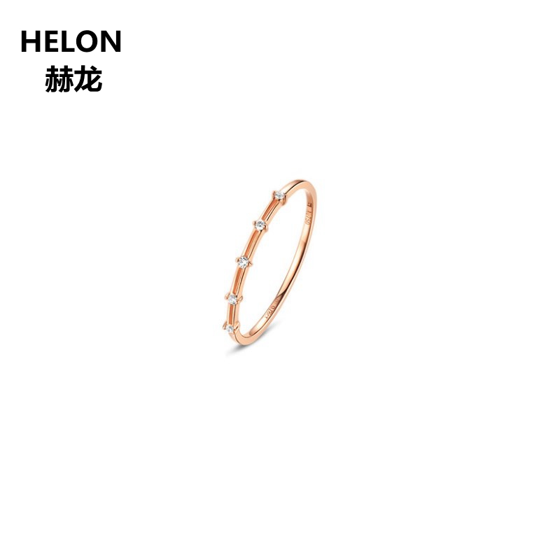 Solid 14k Rose Gold SI/H Natural DIamonds Engagement Ring Women Wedding Band Fine Jewelry solid 14k white gold engagement ring for women 100% si h natural diamonds wedding band millgrain v shape trendy jewelry
