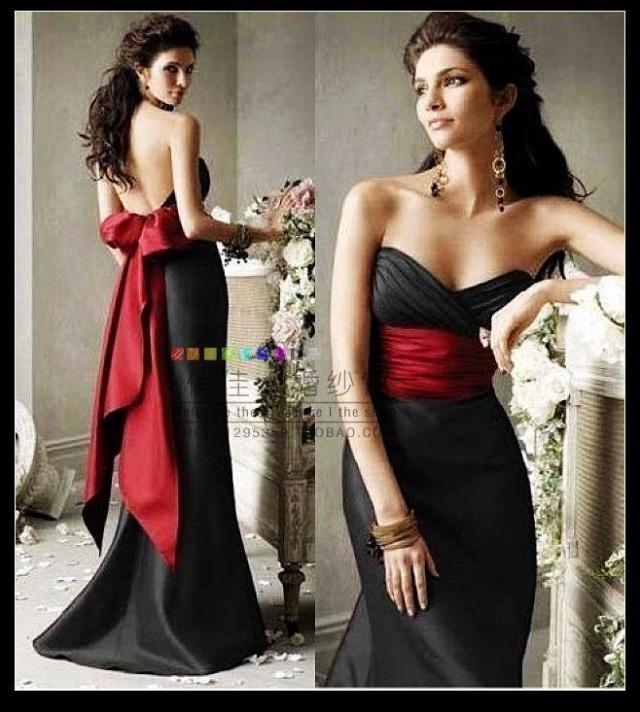 free shipping 2016 black satin Mermaid new fashion red bow sashes sweetheart sleeveless prom long cheap   Bridesmaid     Dresses