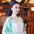 Angelababy Bai PinTing Luz GreenFairy Hanfu Traje Antigua Dinastía Jin para Más Nuevo TV Juego General y Yo (Gu Fang Zi Shang Bu)